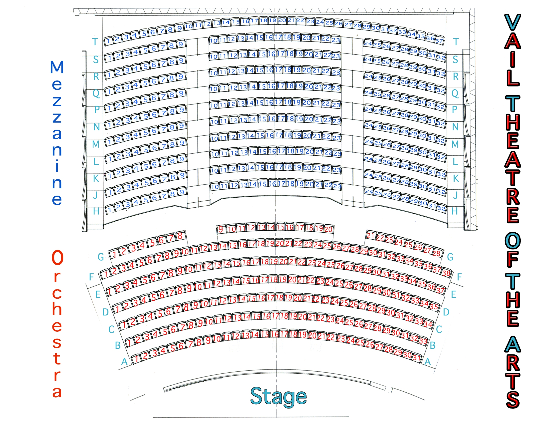 Seating chart vail theatre of the arts